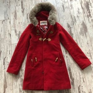 Urban Outfitters - Kimchi Blue red coat fur collar
